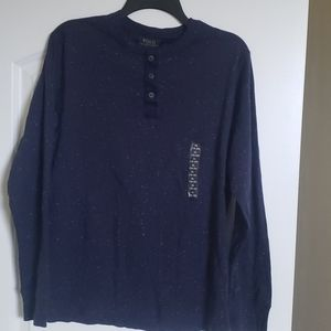Polo Long Sleeve Henley  Blue with white specks
